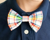 Primary Plaid Bow Tie - Multi Color Bowtie - Baby Boy Photo Prop - Boy Accessory - Bow Tie Dog Collar - Clip On Bow Tie - Rainbow Bow Tie