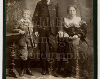 Cabinet Card Photo Victorian Smart Couple with Young Boy Mother, Father, Son Family Portrait - Brockhouse of Hanley England - Antique Photo