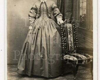 CDV Carte de Visite Photo Victorian Young Serious Looking Woman Pretty Hooped Dress by J Byron of Nottingham England
