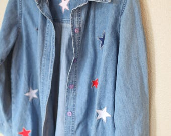 vintage oversized chambray embroidered red white & blue star shirt *