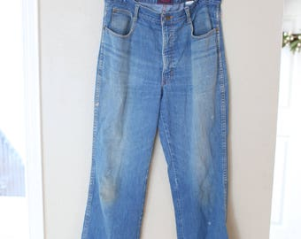 vintage brittannia distressed blue wide leg denim jeans mens 34