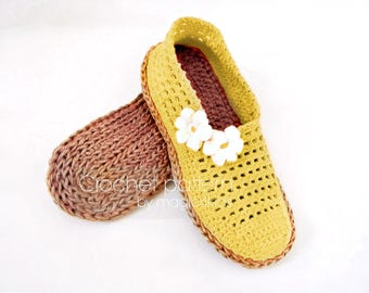 Crochet pattern: women slippers with rope soles,soles pattern included,espadrilles,loafers,shoes,adult,girl,cord,twine,summer
