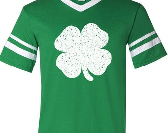 Irish Four Leaf Clover St. Patrick's Day Ringer Stripe Jersey | St. Patrick's Day Shirt | Green Shirt