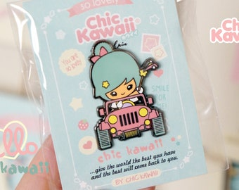 Super cute chic kawaii enamel pin jeep car with girl.