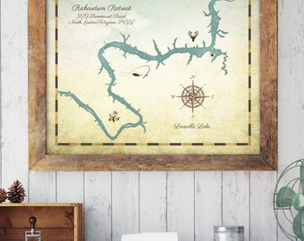 "Custom Lake Map, Cabin Lake Map, Lake House Decor, Family Cabin Art, Lake Decor, Home and Cabin Gift, 8"" x 10"" custom sizes up to 30"" x 40"""