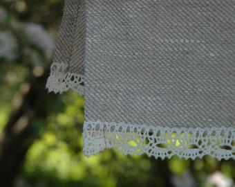 Linen kitchen towel with thin romantic lace 19''X28''/50X70cm Linen tea towel Dish towel Romantic lace Burlap linen towel White lace towel