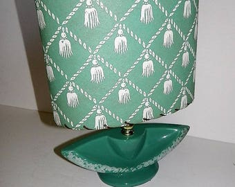 Midcentury 1950s Teal Ceramic Lampshade with Raw Hide Lamp Shade