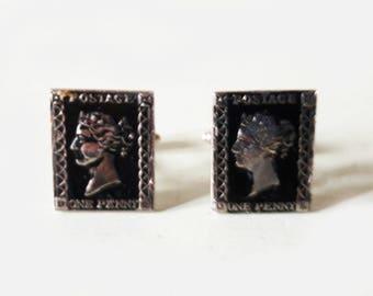 Vintage Pair of Penny Black Postage Stamp Cufflinks