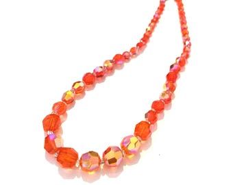 "Vintage Orange Aurora Borealis AB Crystal Glass Bead Graduated Necklace 17"" Long"