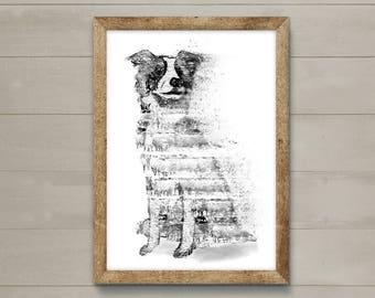 Dog printout, wall art, limited edition dog print. Original painting of a border collie, sheepdog.  Gift, dog lover.  Art print, dog, dogs.