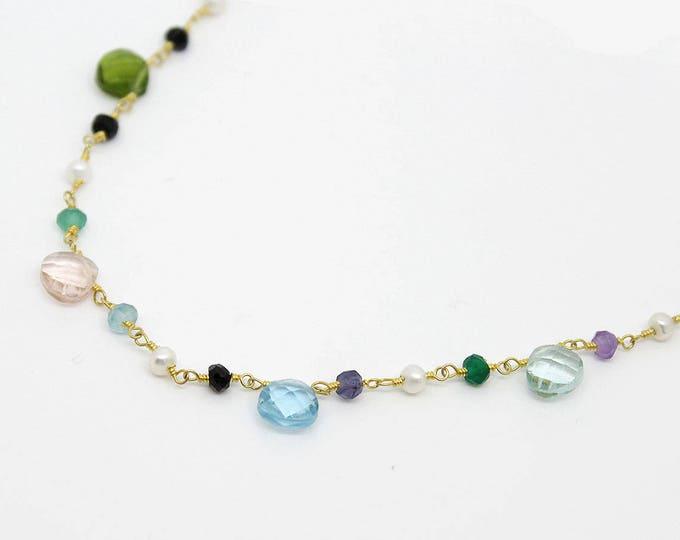 Choker chain and semi precious beads