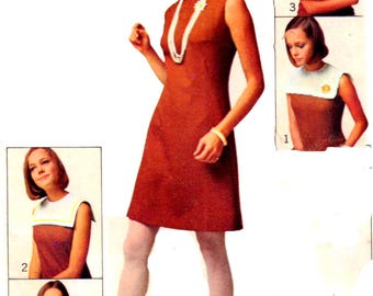 Vintage 1960s Simplicity 8060 Misses' Mod  A-line Dress With Four Detachable Collars Sewing Pattern