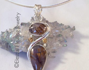 Healing Gift  Melody Stone, Super 7, Cacoxenite & Citrine .925 pendant with star seed crystal point, infused with Angelic Blessings