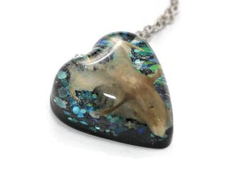 Real Skull Necklace Resin Skull Jewelry Holographic Gold and Silver Statement Pendant ON SALE