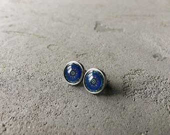 Indigo blue kaleidoscope studs by CuteBirdie