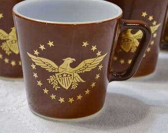 Vintage Pyrex Coffee Mug Federal Eagle Set of 6 Brown Gold Glass Cup Made in USA PanchosPorch