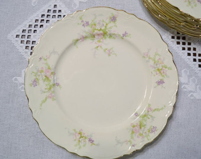 Vintage Homer Laughlin Virginia Rose Luncheon Plate Set of 8 Pink Purple Flowers Vintage China Replacement USA PanchosPorch