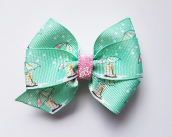 Mint Green Hair Bow with Umbrellas/Hair Clip/Summer/Girl's Hair Clip/Pink/girls hair bow/hair accessory/kawaii/baby girl/pink glitter