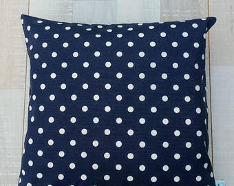 """Navy White Polka DOTS Decorative Pillow Cover - American Flag, Cushion case, Home, 16"""" x16"""" living room, Spring Summer Home Decor, Christmas"""