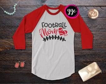 """Custom Glitter """"Football Mom"""" Raglan Tee - Personalize in Any Color"""