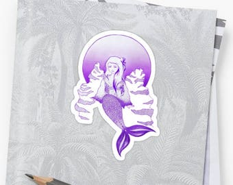 Full Moon Mermaid Sticker