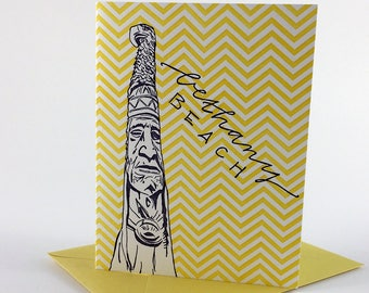 Bethany Beach Delaware Letterpress Card | Totem Pole | purple & yellow  single blank card with envelope