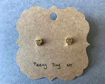 Gold Tiny Mini Skull Stud Earrings - Gold plated over Sterling Silver [GE1025]