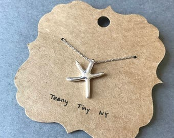Silver Tiny Mini Starfish Necklace - Sterling Silver