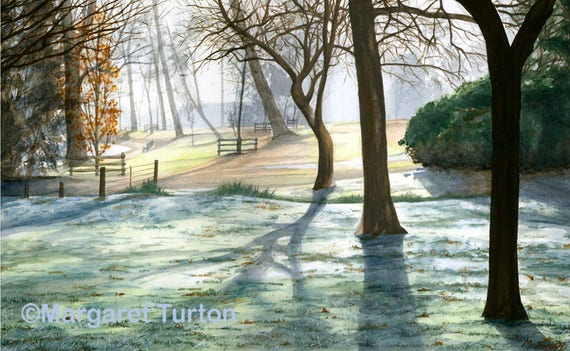 Early Morning Frost print, mounted and signed by artist