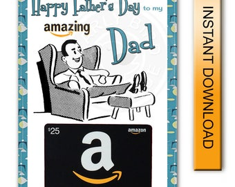 Printable Father's Day Card - Amazon Gift Card Holder - Amazing Dad - Digital Instant Download
