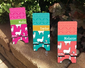 Personalized ALPACA Patterned Phone Stand - Personalized Phone Charger Stand