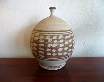 Signed Mark Hines '67 Vase Mid Century Modern Stoneware Pottery