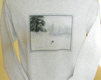 T-shirt GIFT for him: Downhill Skier design, Long Sleeve 100% Preshrunk Cotton, Unisex Sizing, Crew-Neck Design, Watercolor reproduction