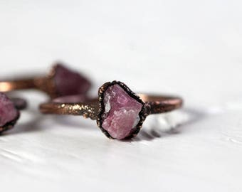 Tourmaline Ring Electroformed Copper Ring Pink Tourmaline Stone Ring Rustic Raw Pink Tourmaline Delicate Ring