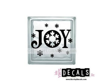 JOY (with snowflakes) - Christmas Vinyl Lettering for Glass Blocks - Winter Craft Decals
