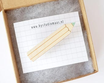 Pencil brooch, pencil pin, mint, pink, mustard yellow, wooden brooch, gift for teacher, laser cut jewelry, stationery lovers, back to school
