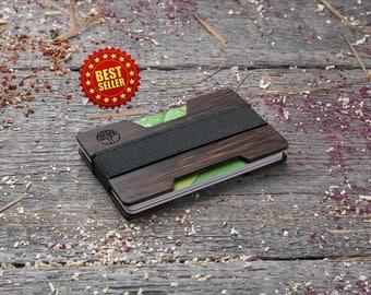 Premium Wood wallet, Black wenge wood, Minimal Wallet, Wooden wallet, Credit card holder, boyfriend gift, Personalized wallet insert card