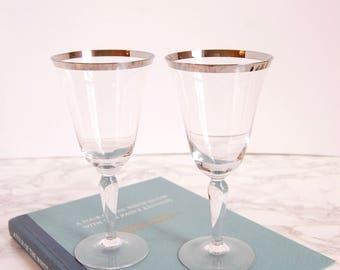 Vintage Wine Glasses - Silver Platinum Rim Wine Glasses - Vintage Glassware - Mid Century Glass Set