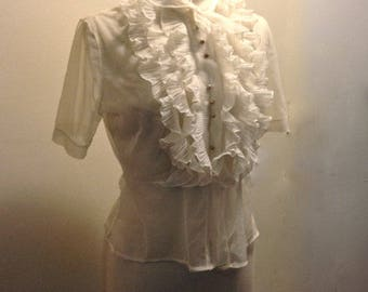 Vintage 1930's Sheer Delicate Ruffled Pussy Bow Pearl Button Blouse Medium