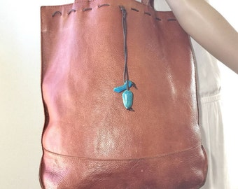 J. Jill Large Brown Leather Tote, Purse, Shoulder Bag, Turquoise Stones, Boho Bag