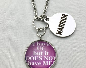 Ulcerative Colitis Awareness Stainless Steel Photo Charm with Stainless Steel Warrior Charm Stainless Steel Necklace