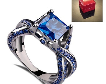 Ring AND Personalized High-Gloss Ring Box -- Blue Sapphire Engagement Ring