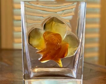 Lalique Amber Rose Vase or Ice Bucket Rare Find - Excellent Condition