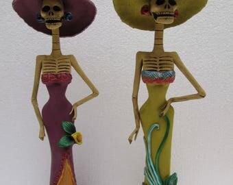 "2 CATRINA SET wholesale lot day of the dead mexican folk art dia de muertos 13"""