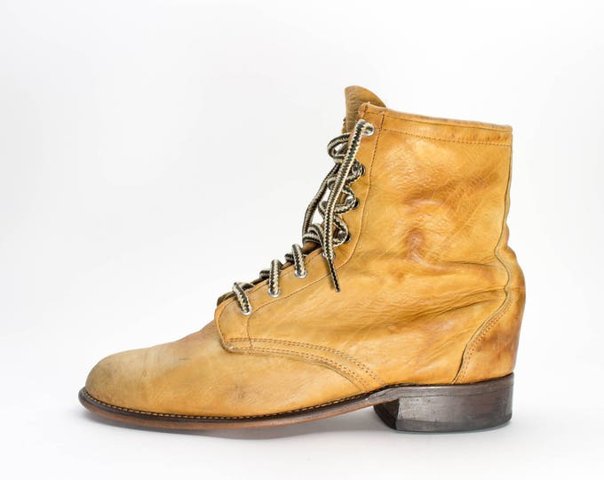 80s Vintage Boots | Soft Leather Lace Up Boots | Made in USA | Size US Womens 9.5  Euro 40  UK 7.5
