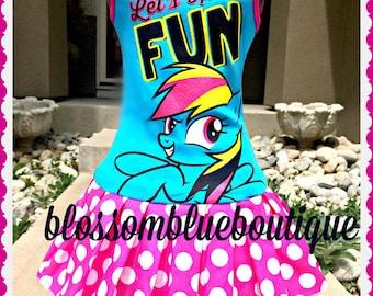 girls MLP Rainbow Dash My Little pony dress 4/5 6/6X 7/8 10/12 and 14/16 ready to ship