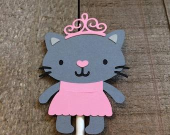Princess Kitty Cat Cupcake Topper Kitten Animal Critter Birthday Party Baby Shower Decor Decoration