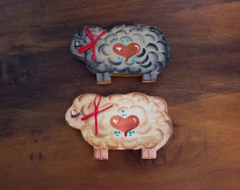 Set of 2 Vintage Wooden Painted Sheep w/ Bows