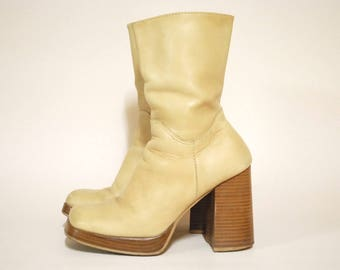90s Vintage Leather Boots Chunky High Heel Mid Calf Vtg Beige 1990s Shoes Square Toe Size 8