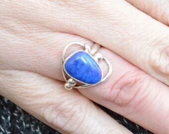 Looped Lapis Lazuli Ring // Lapis Lazuli Jewelry // Sterling Silver // Village Silversmith